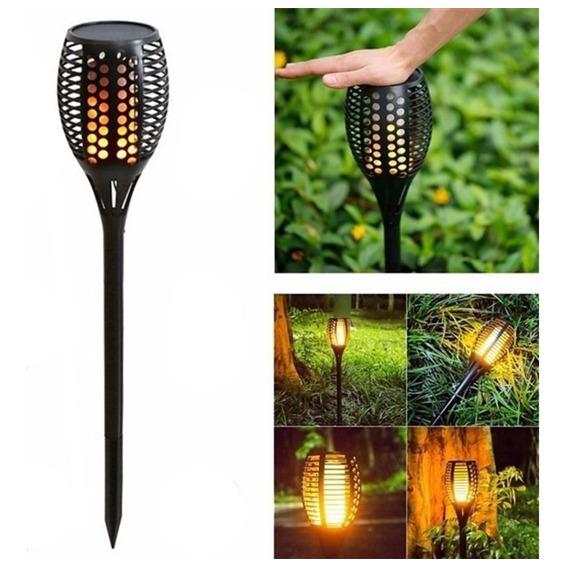 Lampara Solar Jardin Led Fuego Antorcha Llama 12hs Tbcin