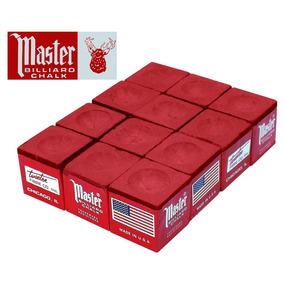 Giz Master Vermelho 12 Pç Para Taco De Bilhar Sinuca (10911)
