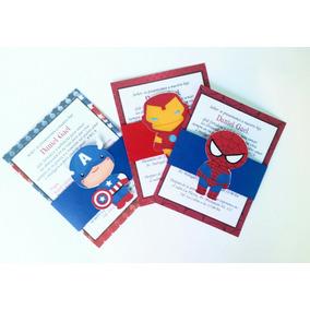 20 Invitaciones Infantiles. Super Heroes Avengers Vegadores