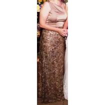 Vestido De Festa Cor Nude Em Cetim De Seda E Renda Bordada
