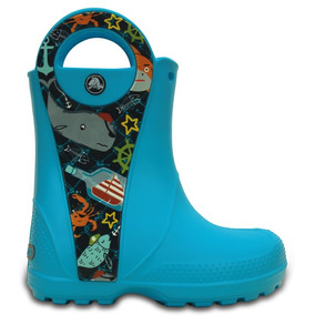 Bota De Lluvia Infantil Crocs Handle It Sea Life Azul