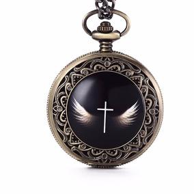 Relógio De Bolso Asas De Anjo - Jesus - Vintage