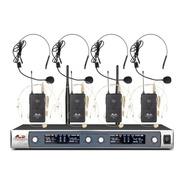 Gbr Uhf-430 Pro 4 Microfonos De Vincha Inalambricos Bateria