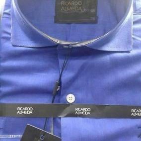 Camisa Social Ricardo Almeida Azul Escu Manga Longa Original
