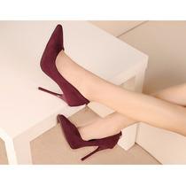 Sapato Feminino Vermelho De Luxo Bico Fino Elegante
