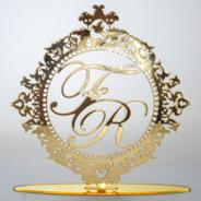Topo De Bolo Casamento Noivado Iniciais Espelhado Pomba