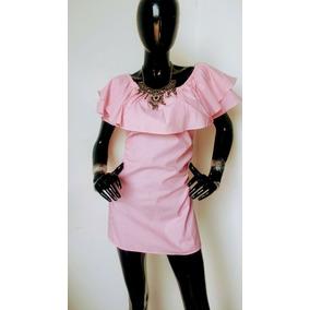 Vestido Rosa Con Holan Dama