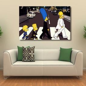 Quadro Decorativo Os Simpson The Beatles - Tela Em Tecido