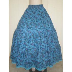Saia Umbanda De Algodão Floral Azul