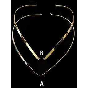 Gargantilla V En Chapa De Oro De 14k Collar