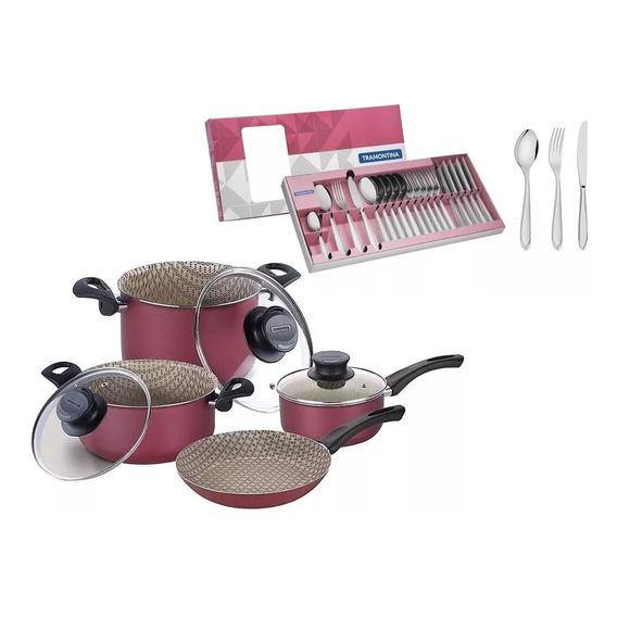 Bateria De Cocina 7 Pz Tramontina Teflon + Juego  Cubiertos