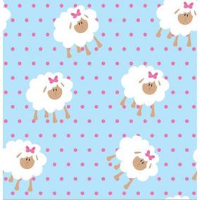Papel De Parede Quarto Bebê Menina Rosa E Azul Ovelhas Poá