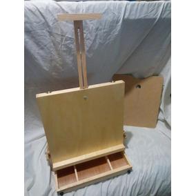 Caballete Portatil Tipo Portafolio Madera + Kit De Pintura
