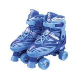 Patins De Passeio 4 Rodas Rollerskate Quad 31/34 Azul Rl-02