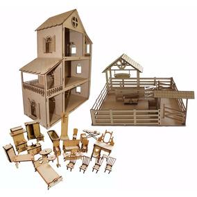 Casa Casinha Para Boneca Polly Com Móveis + Fazendinha
