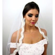 Véu De Noiva Casamento Com Acabamento Em Renda Off White
