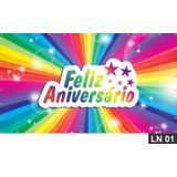 Feliz Aniversário Painel 2,00x1,00m Lona Festa Parabéns Bann
