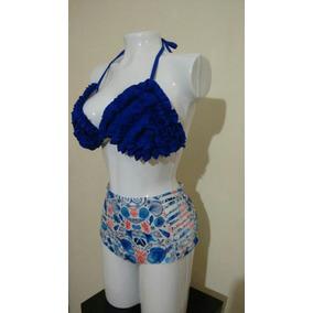 Vestido De Baño De Dos Piezas Azul Rey Sublimado