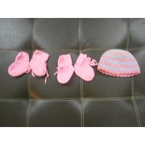 Escarpines O Medias Y Gorro De Niña Talla Recien Nacidos