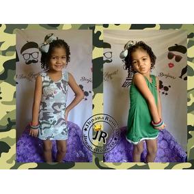 Vestido Camuflageado Reversible Para Niñas+lazo (mami E Hija