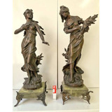 Antiguo Par De Estatuas Frances Petit Bronce Moreau C Marmol