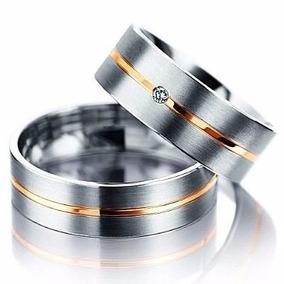 Par De Alianças Prata Com Filete Em Ouro Namoro Compromisso