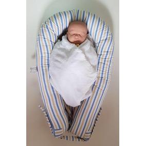 Ninho U-baby Redutor Berço Listrado Bege E Azul Colo De Mãe