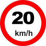 Placa Transito Refletiva Viaria 20km/h 50x50