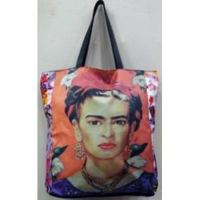 Bolsa Estampa Sacola Caveira Frida Kahlo Couro Sarja Floral