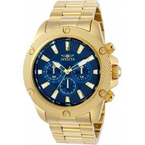 Relógio Invicta Pro Diver Plaque Ouro E Fundo Azul Ref 22719