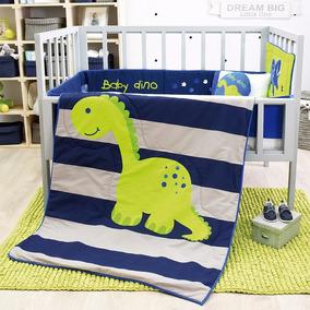 Juego Edredón Cuna Baby Dinos Azul Vianney Bebé Envío Gratis