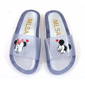 Chinelo Melissa Beach Slide Minnie E Mickey Cinza Claro