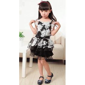 Vestido Infantil Mocinha 2 Peças+ Cinto Preto E Branco 3 E 4