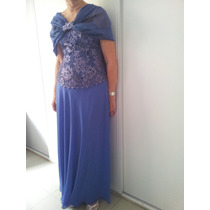 Vestido De Fiesta Largo Strapless Color Violeta Usado