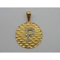 Pingente / Medalha De Ouro 18k Com Letra P