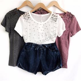 Blusa T Shirt Feminina Pedraria Moda 2018 Verao Blogueira