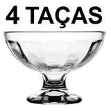 Kit 4 Taça Vidro Sorvete Colegial 200 Ml Taça Sobremesa