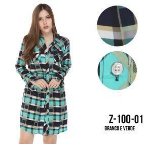 Blusão Feminino Vestido Xadrez Com Aplicação Moda Blogueira