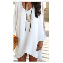 Mini Vestido O Blusón Blanco Lindo, Elegante Envío Gratis
