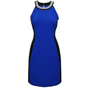 Vestido Sin Mangas Pedreria Dama Mujer Azul Rey 0755 Zoara