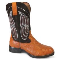 Bota Country Texana Exótica Silverado 100% Couro Avestruz