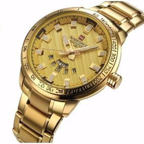 Relógio Dourado Ouro Masculino Naviforce Stainless Steel