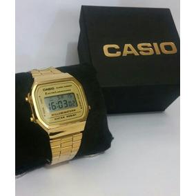 Relógio Cassio Retro Dourado + Caixa + Frete Grátis