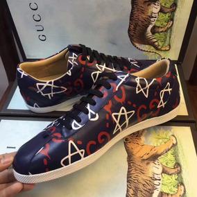 Tenis Sapato Gucci Gg Estrelas Masculino Couro Legítimo