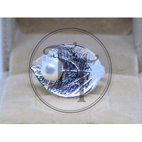 Anillo Hoja Perla Natural 6.5 Mm Plata Esterlina 925