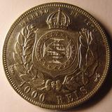 Moeda Antiga De1000 Reis 1876 Prata, Petrus, Soberba, Unica