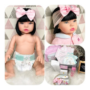 Boneca Bebê Reborn Silicone Morena Com Acessórios E Mochila