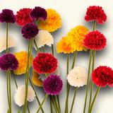 Flores Artificiais - Conjunto Com 6 Buques Mini Crisantemos