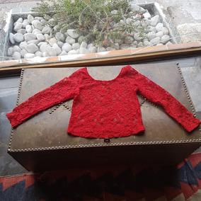Bonita Blusa Crop Top Roja Transparencias Talla S