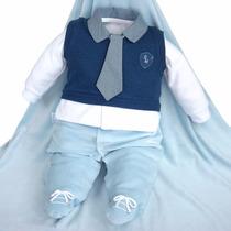 Saída De Maternidade Sonho Mágico Azul Masculino Gravata